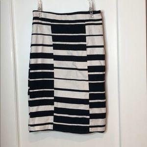 Ann Taylor Modern White Black Stripe Pencil Skirt